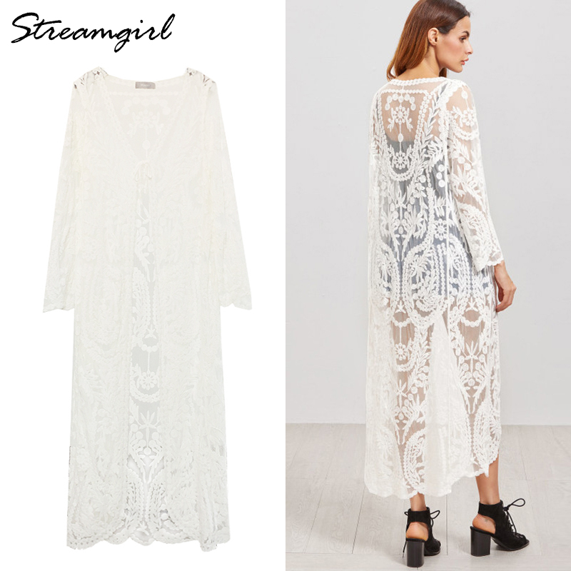 Streamgirl Women Long Cardigan Summer 2019 Oversize Long Sleeve Beach Lace Cardigan White Female Casual Kimono Cardigans Summer