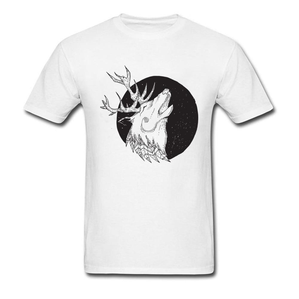 Deer And Wolf 2018 Montage Art Design Men White Black T-shirt 100% Cotton Quality O-neck T Shirt Cartoon Animal Top