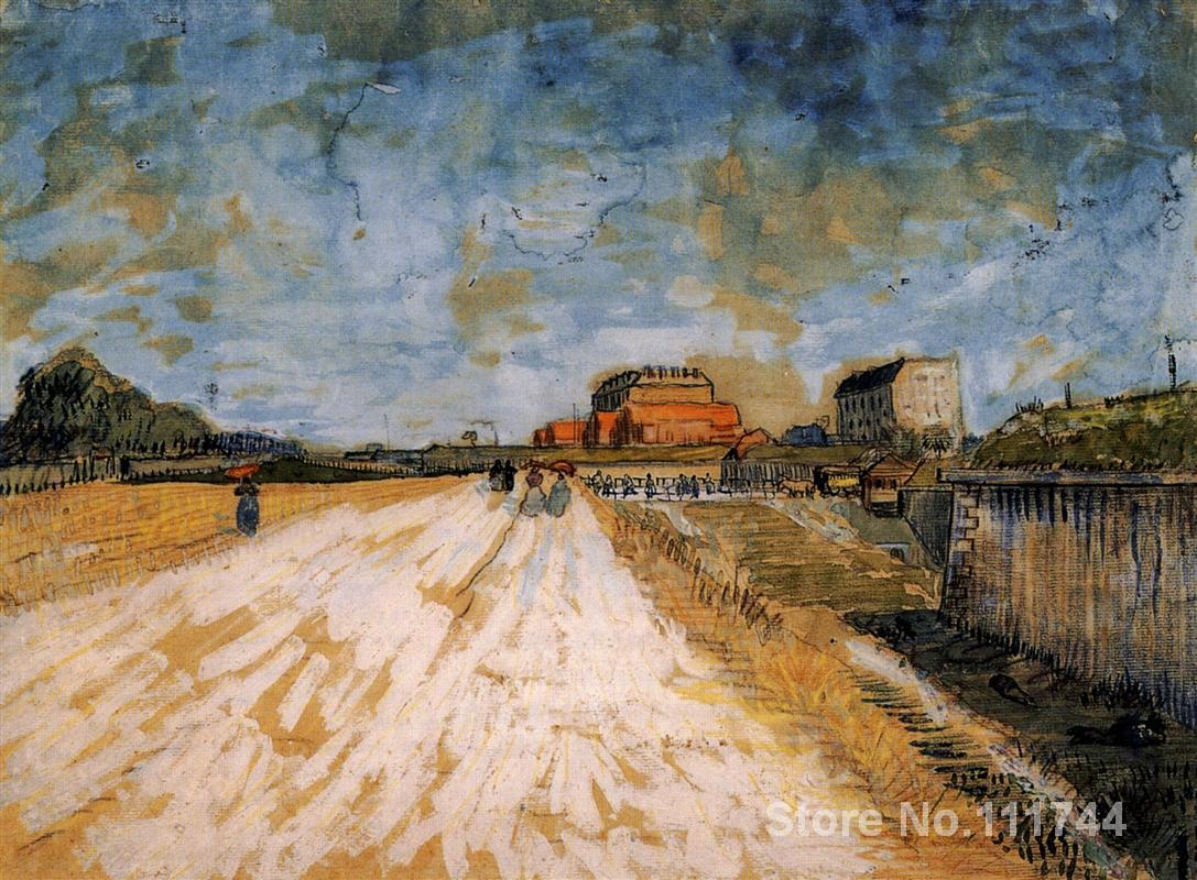 famous art for bedroom Road Running Beside the Paris Ramparts Vincent Van Gogh paintings Hand painted High qualityfamous art for bedroom Road Running Beside the Paris Ramparts Vincent Van Gogh paintings Hand painted High quality