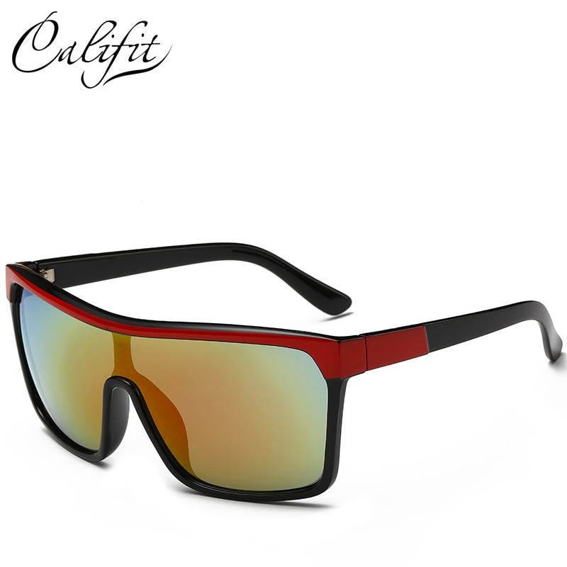 CALIFIT 2018 Lente Revestimento Dos Homens Escudo óculos de Sol Masculinos  Grande Armação de Óculos de Moda Pontos de Design Da Marca óculos de Sol  Óculos ... 57333684af