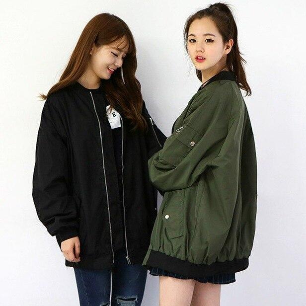 New girls capa de la chaqueta de bombardero de béisbol floja larga chaqueta de a