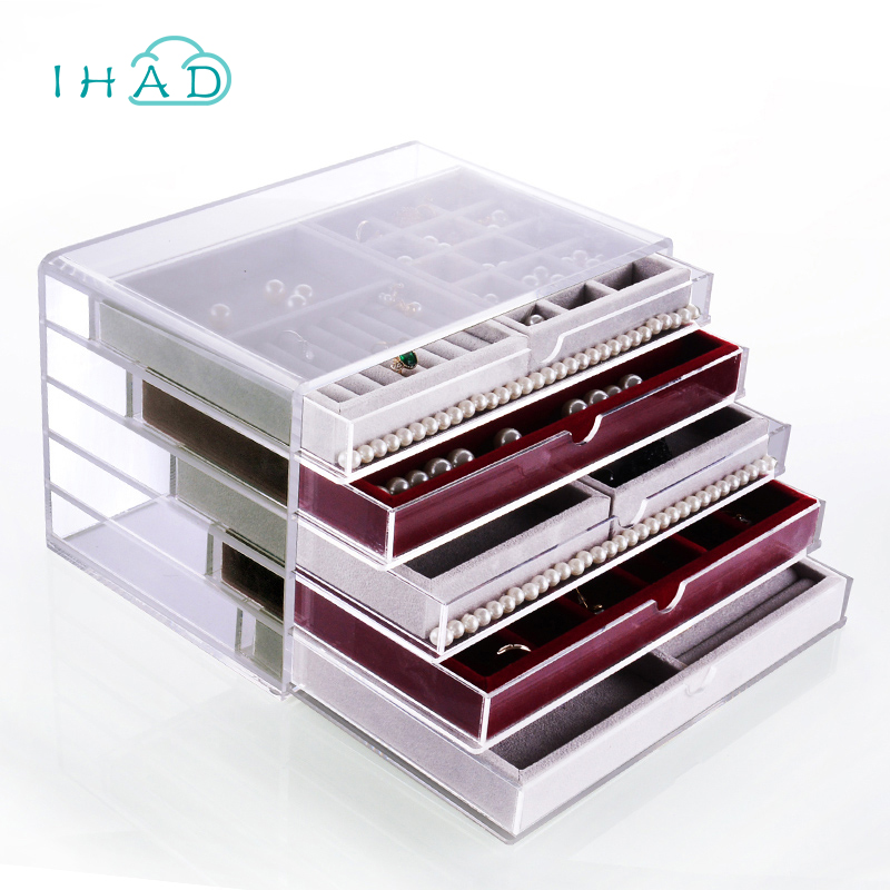 Diy Acrylic Jewelry Drawers Box Storage Ring Necklace Earrings Display Cosmetic Organizer Makeup Combination Save E