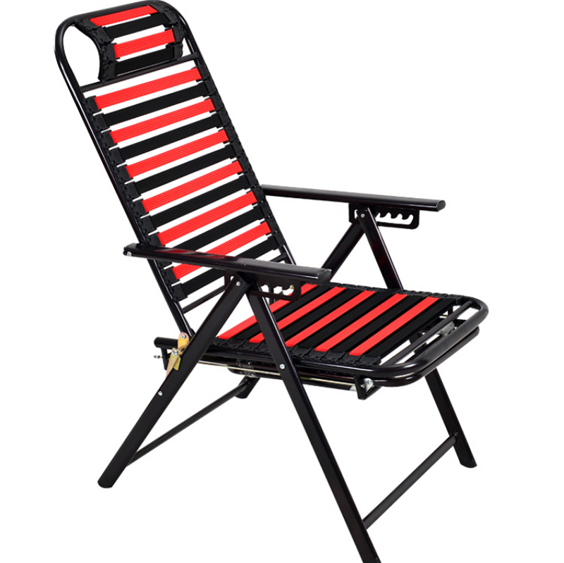 Elastic String Breathable Healthy Stool Lunch Break Foldable Office Chair Reclining Outdoor Beach Chair Adjustable Deck Chair