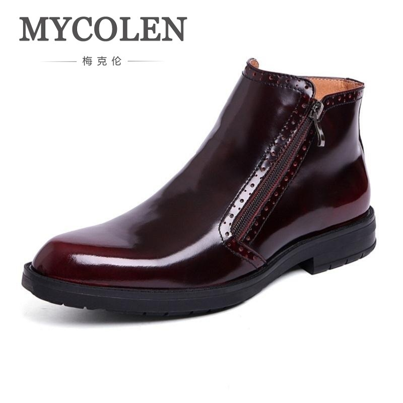 MYCOLEN Men Boots Genuine Patent Leather Italian Black Luxury Fashion Casual Ankle Boots Men Shoes Male For Wedding Business men autumn winter genuine leather italian black luxury fashion casual plush ankle boots mens shoes male for wedding business 09