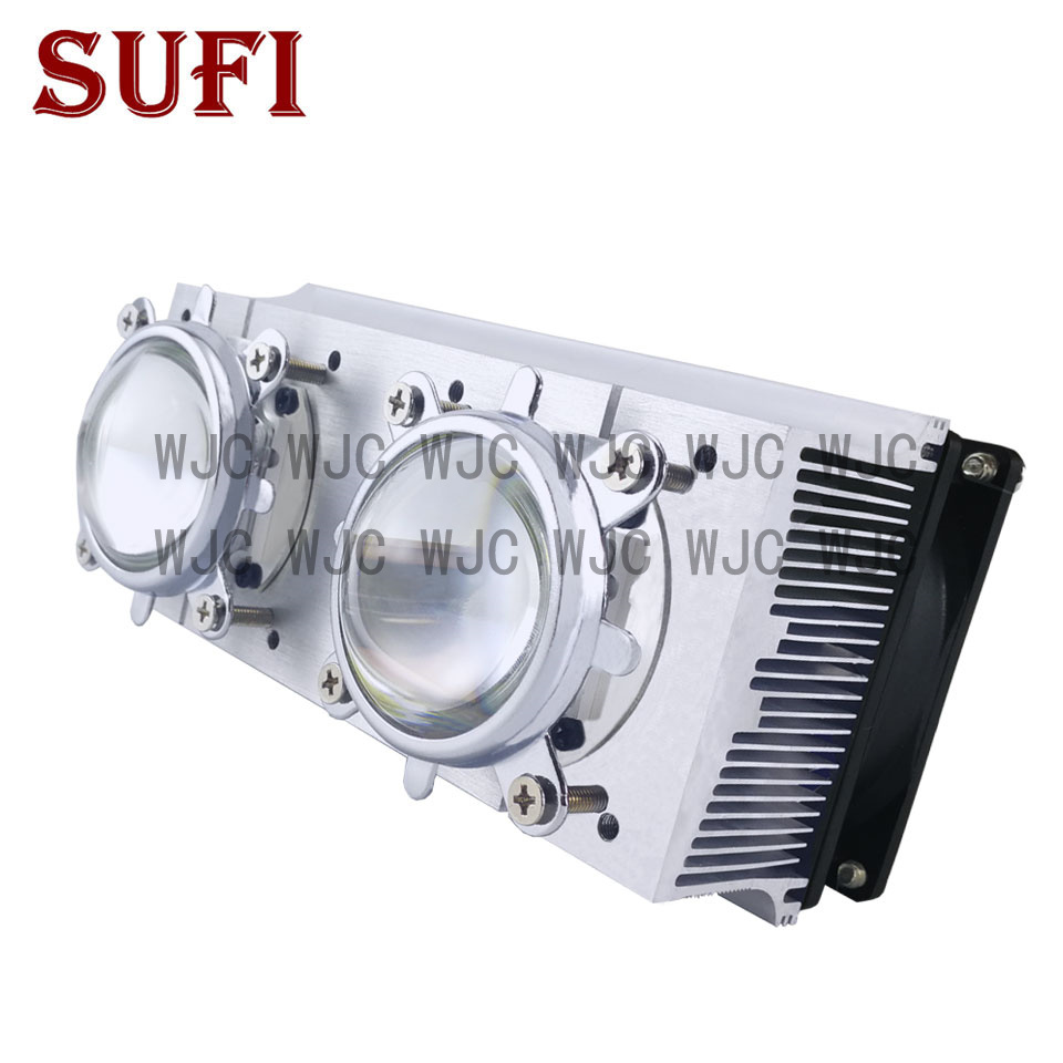 60W <font><b>100W</b></font> 200W High Power LED <font><b>Heatsink</b></font> cooling with 12V fans + 44mm Lens +Reflector Bracket For DIY 20 30 50 100 200W Watt LED image