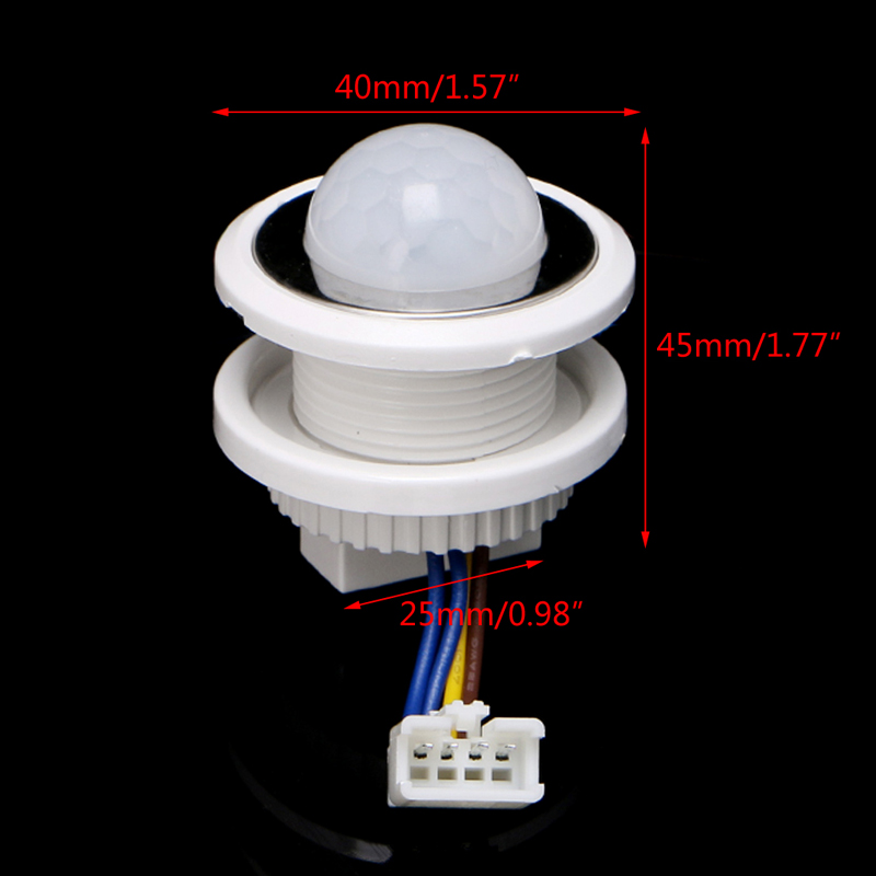 цена на 40mm LED PIR Detector Infrared Motion Sensor Switch with Time Delay Adjustable
