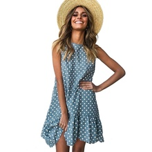 купить Women's Dress Round Neck Sleeveless Women Dress Polka Dot Loose Large Ruffle Summer Party Dresses по цене 778.97 рублей