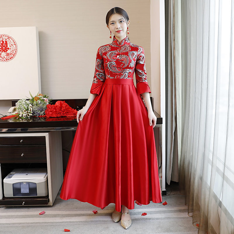 Red Chinese Style Bridesmaid Wedding Dress Mandarin Collar Elegant Qipao NEW Style Plus Size XXXL Sexy