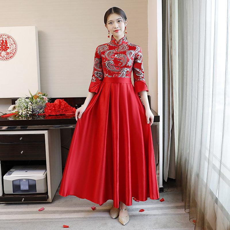 Trouwjurk Met Kraag.Rode Chinese Stijl Bruidsmeisje Trouwjurk Mandarijn Kraag Elegante