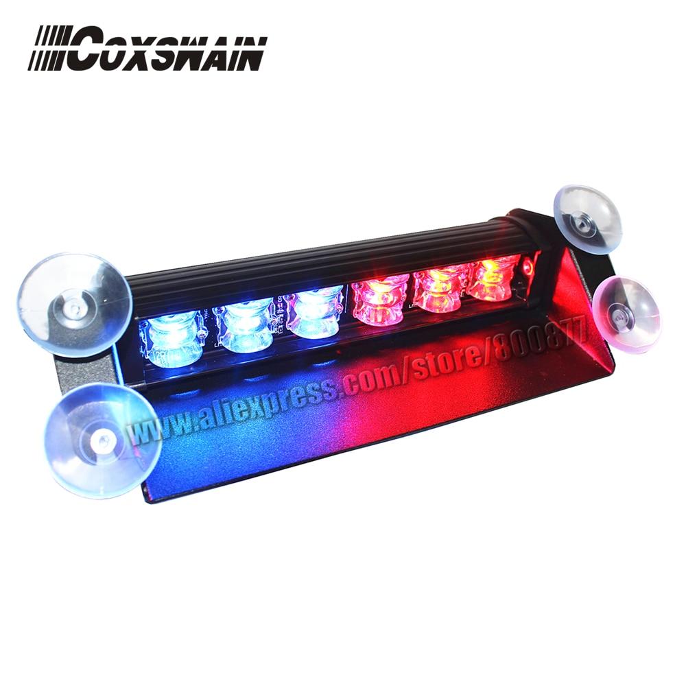 LED Dash Light For Car LED Visor Light LED Warning Light, 6 * 3W LED, 15 Flash, DC12V, Powered By Cigarette Lighter