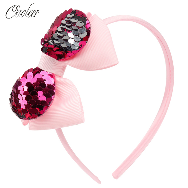 Oaoleer Hair Accessories Hair Bands Headbands for Girls Layers Grograin Ribbon Hairband 5 Inch Reversible Sequin Bow Hair Band