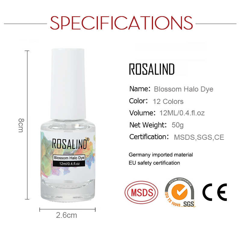 Esmalte de uñas ROSALIND Blossom, 12 ML, Semi permanente, lámpara UV, laca de Gel, diseño para manicura y Arte para uñas, Gel de tinte de Halo