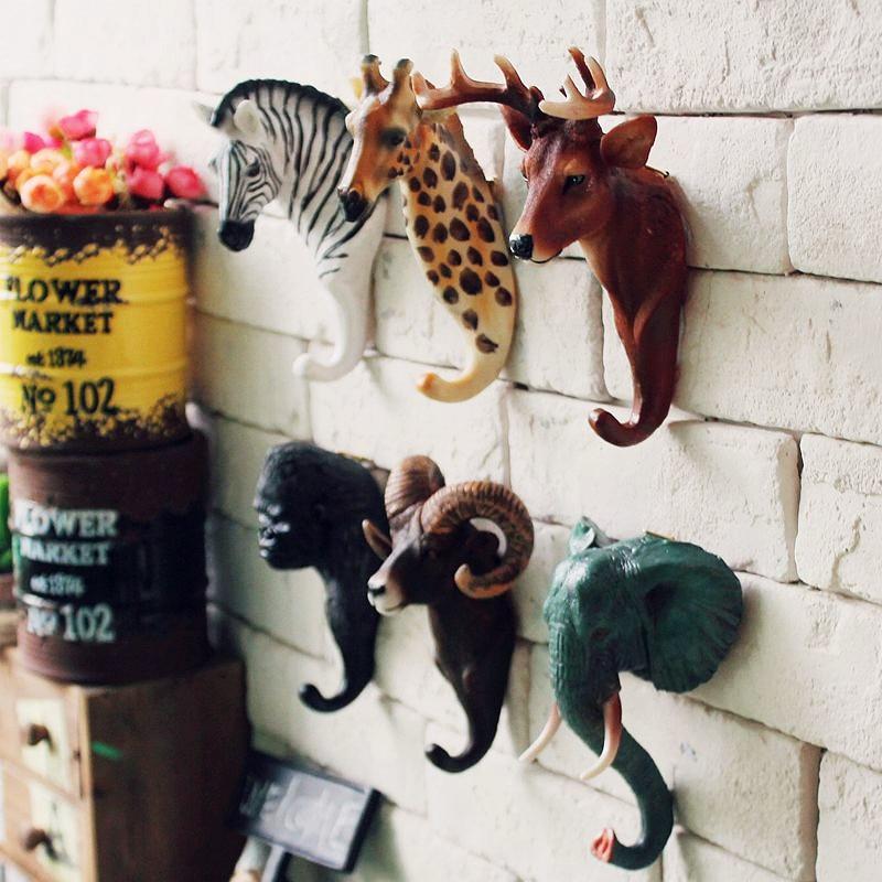 Animal Head Hook Clothes Robe Key Holder Hat Hanger Wall Decoration Deer Elephant Zebra Giraffe Designs Retro Wall Ornament