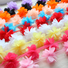 1 Yard 3D Simulation Flowers Trim Ball Fringe Ribbon DIY Sewing Accessory Lace Rainbow Color Handcrafted Fabric Supplies Guipure