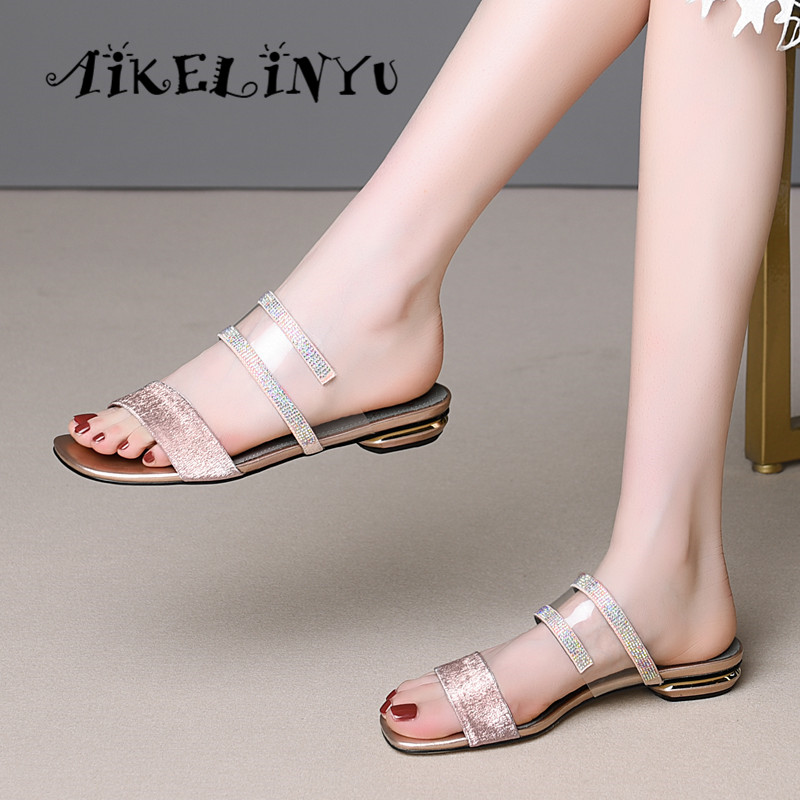 AIKELINYU Flat Brand Mules Genuine Leather Shoes Women Casual Comfortable Slippers Fashion Rhinestone Sandals Plus Size 34-43