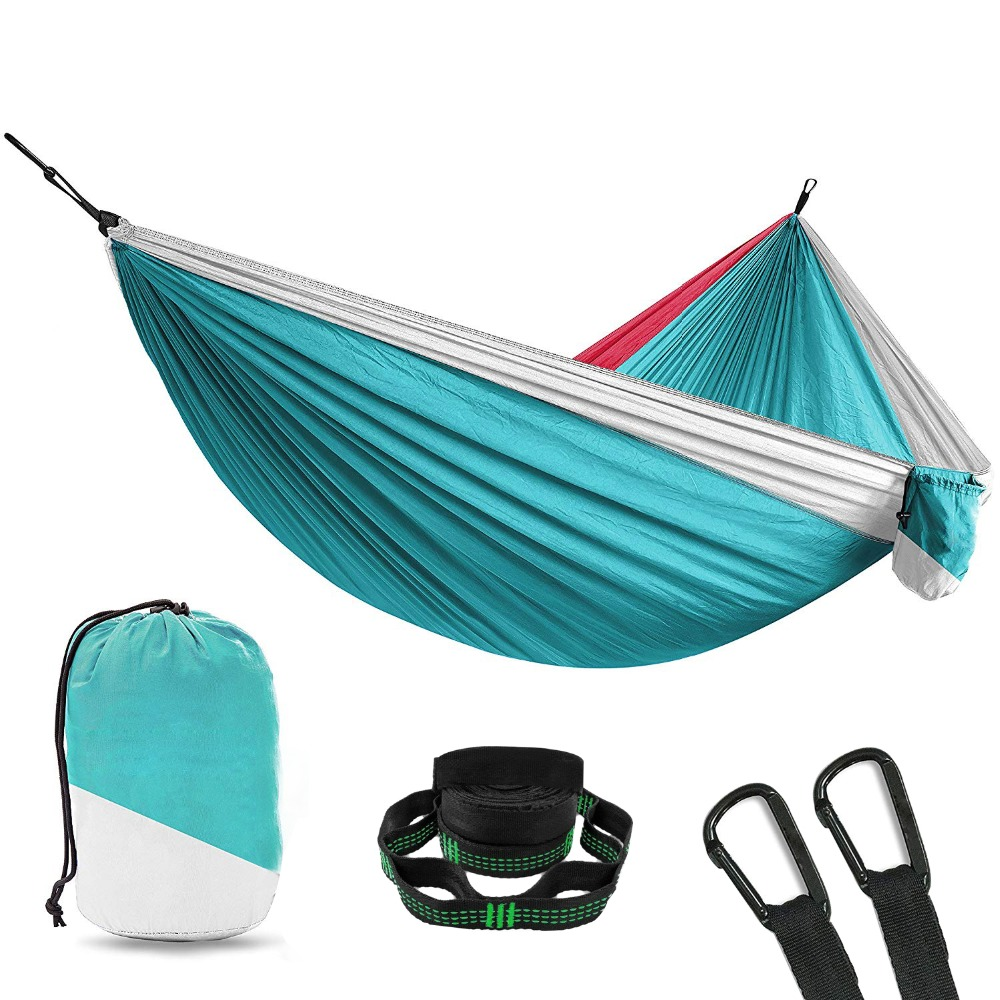 Ultralight camping parachute hammock garden outdoor furniture leisure sleeping hamaca strong travel double hammock 300200cm