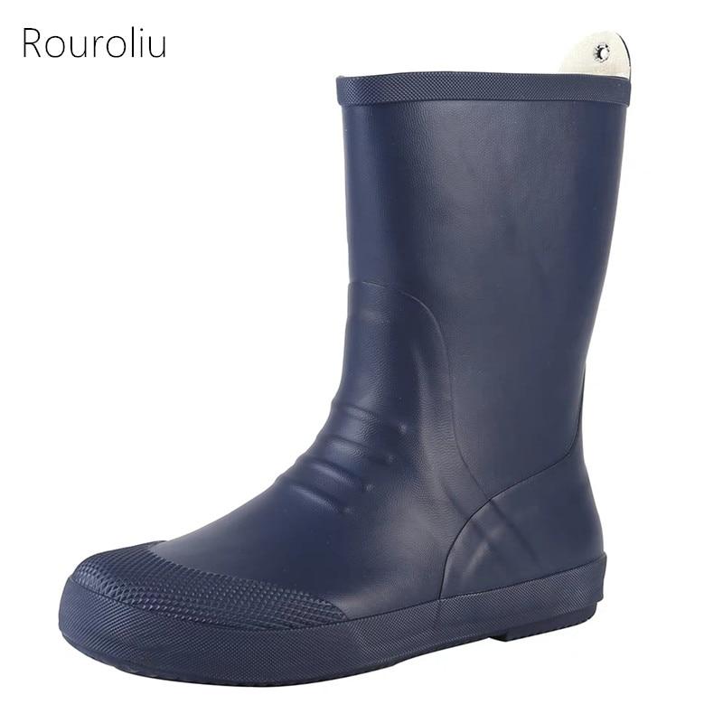 Hommes En Homme L'eau Travail Bottes slip Imperméable Rainboots Mâle Fr27 De Mi Blue Rouroliu Automne Non Chaussures veau À Sécurité D'eau Caoutchouc AwdcUUTq