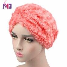 Spring New Luxury Women Wool Plush Turban Rose Style Warmer Turban Headband Hat Muslim Hijab Turbante for Women new fashion women knit turban plush wool lining turban ladies stretchy turban headband hijab turbante hat headwrap