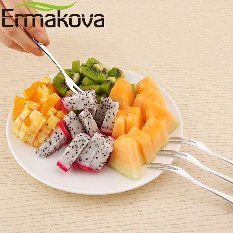 ERMAKOVA Set of 5 Bistro Appetizer Cocktail Fruit Forks Stainless Steel Dessert Fork for Mini Cake Salad Tasting Mussel Forks