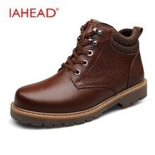 Iahead Мужская обувь Высокое качество ботинки Martin теплые с пухом зимняя обувь Для мужчин большой размер 38-48 Военное Дело сапоги ковбойские ботинки Для мужчин MU503