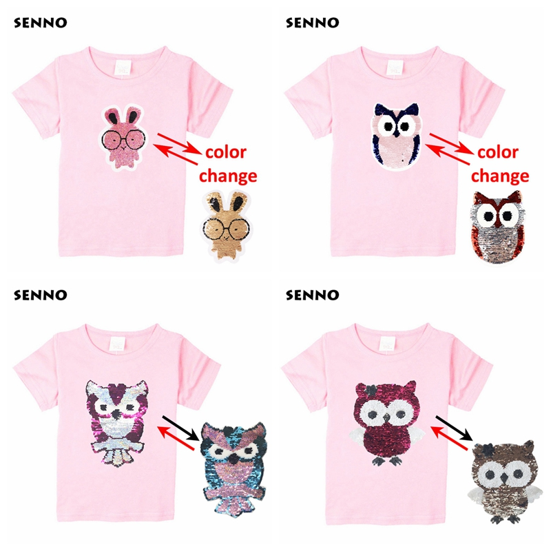 e17188711 24 Patterns Animal Owl Cat Cartoon Super Hero Sequin Kids T shirt  Discoloration Reversible Sequined Tops Tee Shirts Boys Girls. 1. pink t  shirt ...