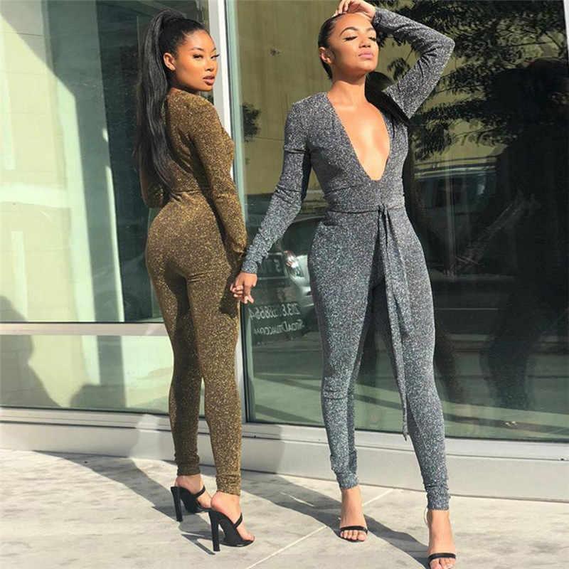1255c5235e3 ... BerryPark Hot Fashion Glitter Bodycon Jumpsuit 2019 Winter Women Gold Silver  Deep V-Neck ...