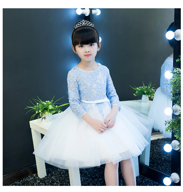 2018 winter kids girls lace floral bow formal party ball gown prom princess bridesmaid wedding children tutu flower dresses цены онлайн