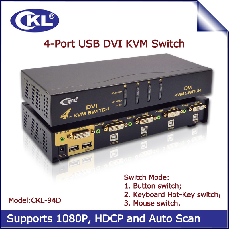 4 Port USB DVI KVM Switch Switcher for Keyboard Mouse PC Monitor with Audio and Auto Scan Support 1920*1200 DDC2B Metal CKL-94D