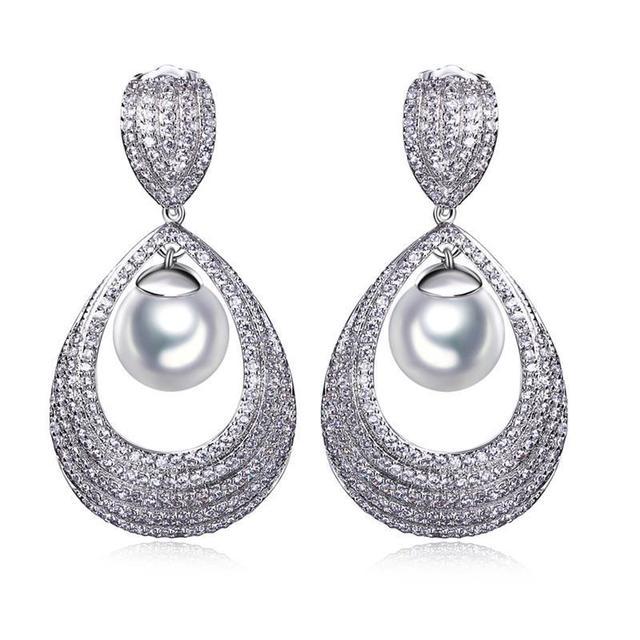 Luxo brincos definir 347 Cubic Zirconia platinadas Big brincos para as mulheres de jóias