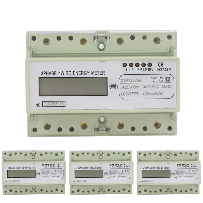 Digital 3 phase 4 Wire 7P DIN Rail Electric Meter ...