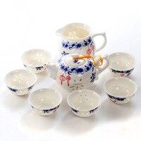 8pcs Exquisite Pu Er Tea Handmade Porcelain Gift Tea Cup Set Chinese Kung Fu Tea Sets Noble Ceramic Tea Set B002