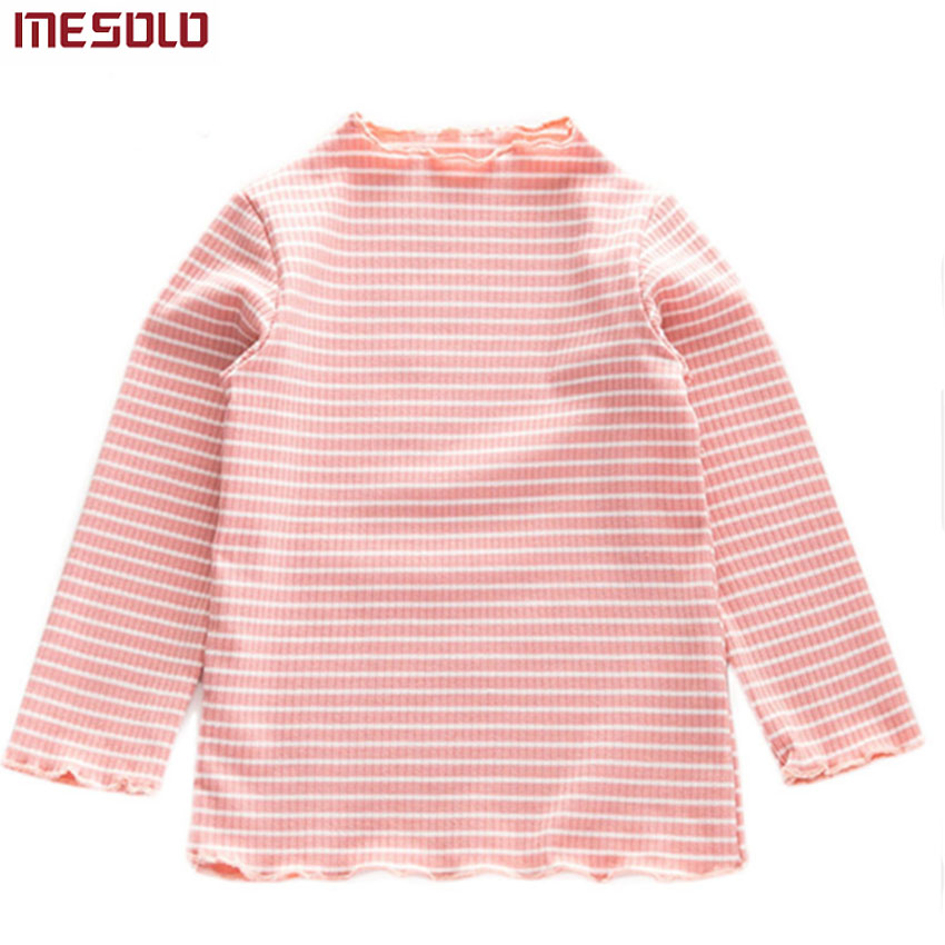 Child T-Shirt Lace-Collar Long-Sleeve Sweet Cotton Pleated Basic