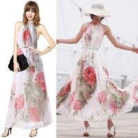 Nowy projekt czechy styl kobiety długie suknie eleganckie foral chiffon dress fashion plaża maxi dress vestidos