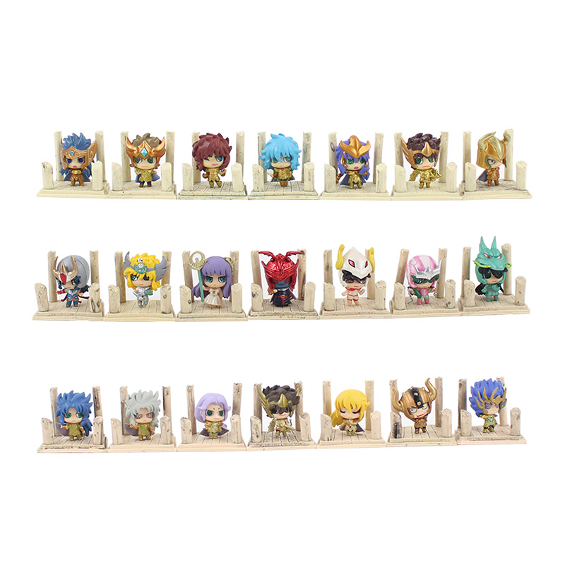 21pcs lot 4cm Seiya Shiryu Shun Hyoga Jabu Shaka Saga Kanon PVC Action Figure Toys Anime