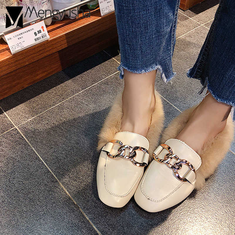 e4a0e2d8865 ... women winter mules metal buckle square toe moccasins fluffy fur shoes  woman keep warm loafers woman