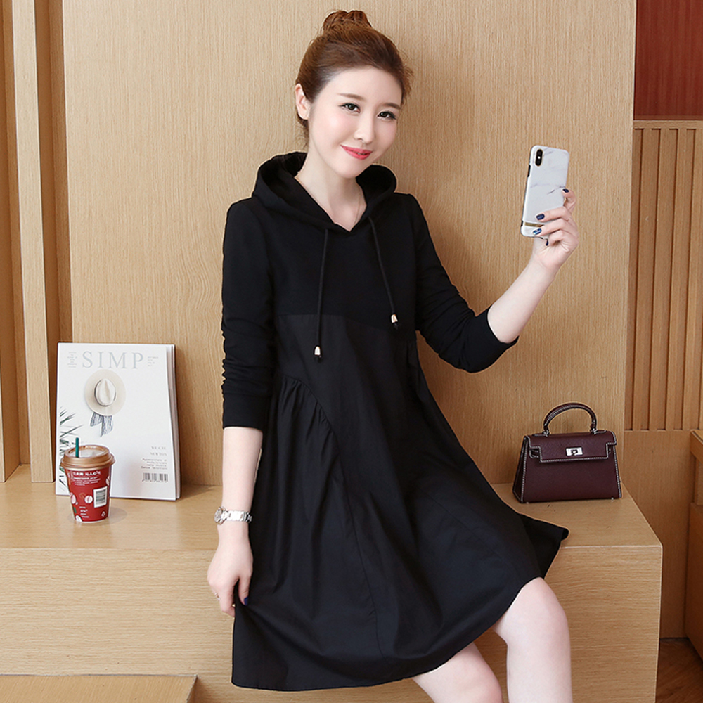 Spring and summer new style Mid-length stitching hooded dress Fall fashion new large size dress stitching 27