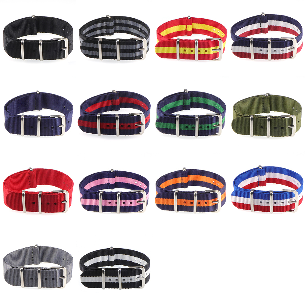New 18mm 20mm NATO Army Sports Brand Nylon Fabric Belt Accessories Belt Buckle 20mm watch strap