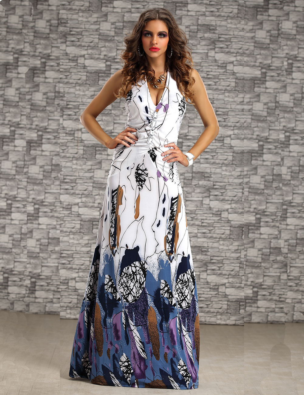 455f21fef3e1 New Arrive Fashion Sleeveless Halter Neck Ladies Long Maxi Dress Summer  Beach Dresses For Women-in Dresses from Women's Clothing on Aliexpress.com  | Alibaba ...