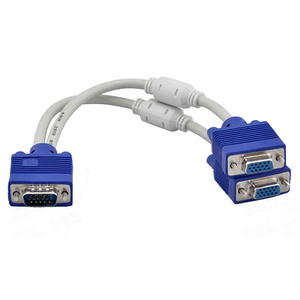 Image 2 - Larryjoe High Quality 1 Computer to Dual 2 Monitor VGA Splitter Cable Video Y Splitter 15 Pin Two Ports VGA Male to Female
