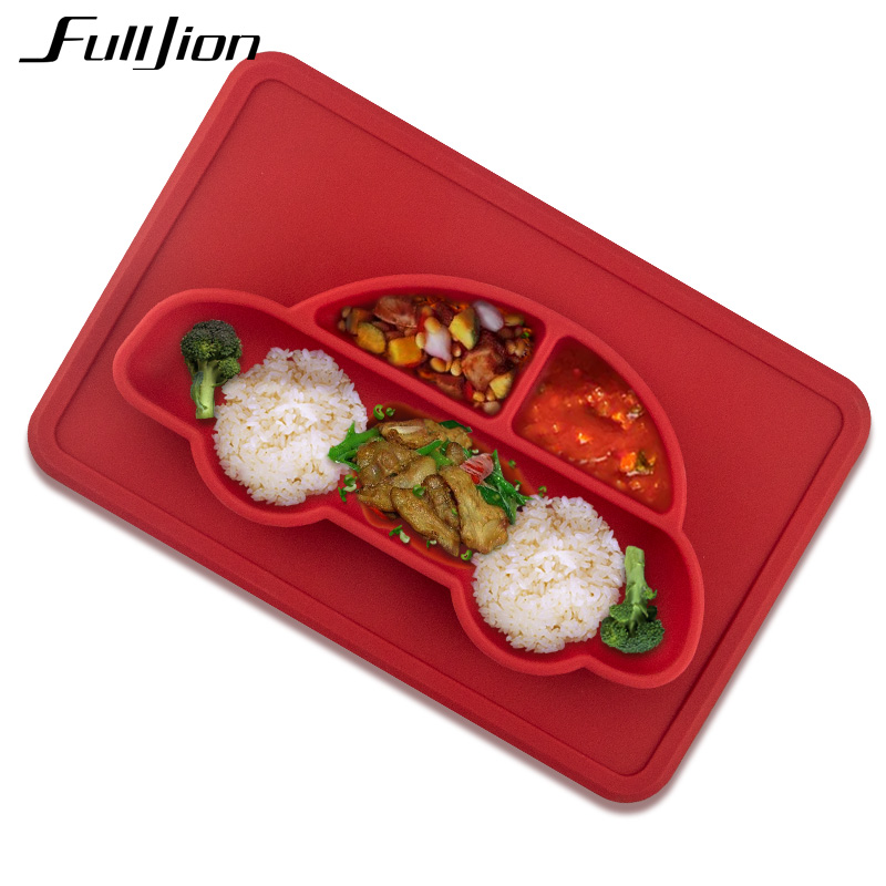 Fulljion Baby Silicone Plate Solid Feeding Bowls Plates Suction Children Tableware Food Containers Anti Slip Kids Dishes Eating тарелочки constructive eating