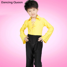 Boy Latin Dance Dress Top&Pants Cha Cha/Rumba/Samba/Tango/Ballroom Clothing For Dance Wear V-Neck Long Sleeve Boy'S Costumes
