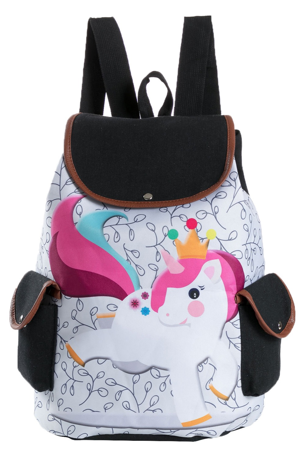 Unicorn womens printing shoulder bag large-capacity student backpack travel backpack ...