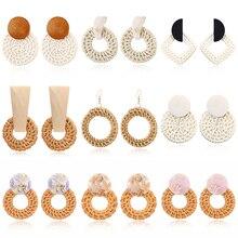 Fashion Rattan Earrings Jewelry Drop For Women Boho Party Handmade Wooden Earring Vintage Geometric Wholesale