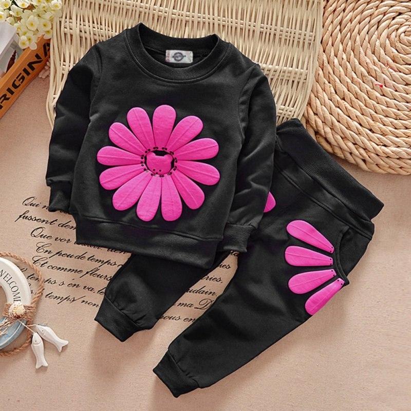 2PCS Girls clothes Baby Girl Clothing Set Children Flower Bow Cute Suit Kids Twinset Top T Shirt +Plaid Pants Leggings