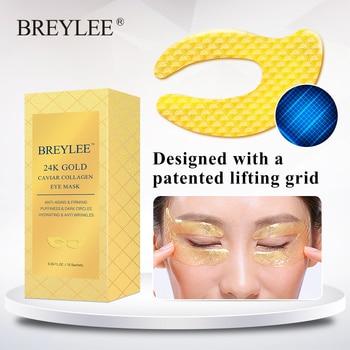 BREYLEE 24K Gold Eye Mask Caviar Collagen Essence New Style Eye Patch Anti Aging Remove Wrinkle