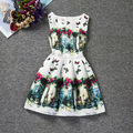 Beautiful flowers and Butterfly patterns sleeveless O-neck happy girls dress A-line casual dresses girls clothes