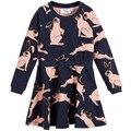 2016 Nuevo Vestido de Las Muchachas de Invierno Conejo Evasé Ropa Animal Print Vestidos de Fiesta Para Niños Otoño de Traje de la Boda Vestidos