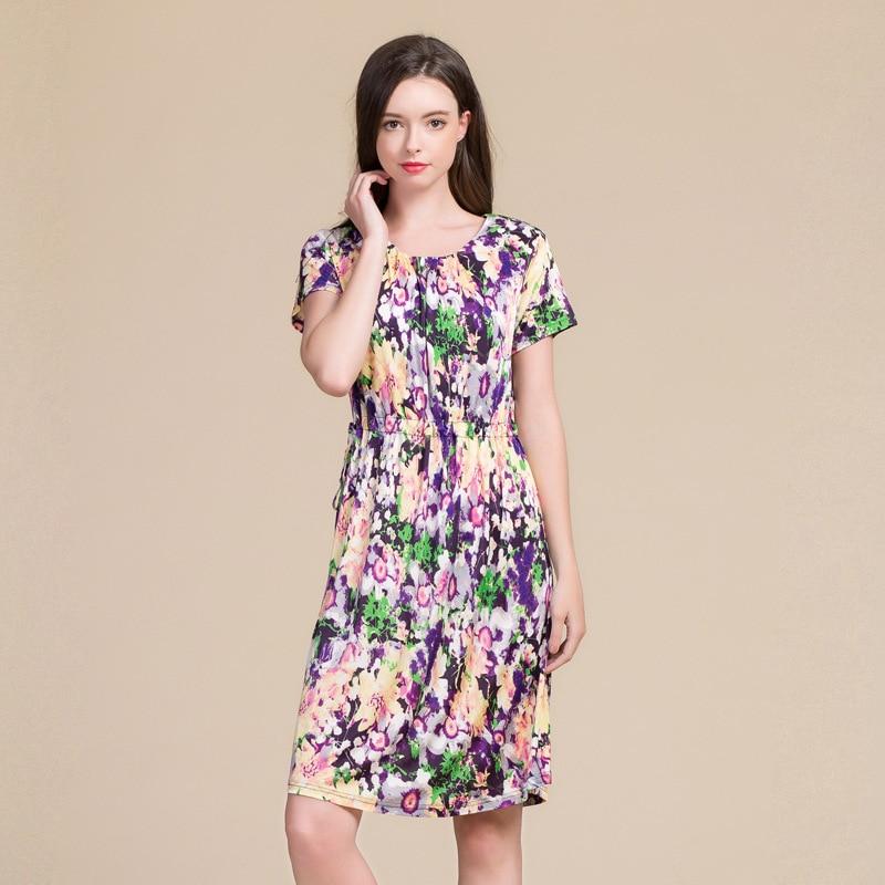 2019 New Summer Women Dress Real Silk Dress Short Sleeve Knee-length O-neck Mid-waist Silk Knitting Loose Dress 8021