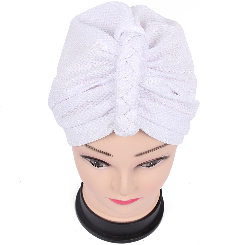 2018 New Styles Dubai Brand Muslim Women Burgundy Black White Solid Braid Knot  Turban Hats Beanies Hijab Caps Ladies-in Skullies   Beanies from Apparel ... 4feb23650311