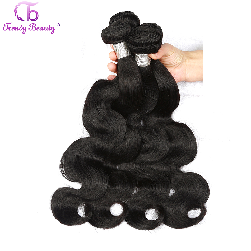 Trendy Beauty Hair Indian Body Wave Hair Natural Black 1B Indian Human Hair Weave Extensions Non Remy Hair Free Shipping